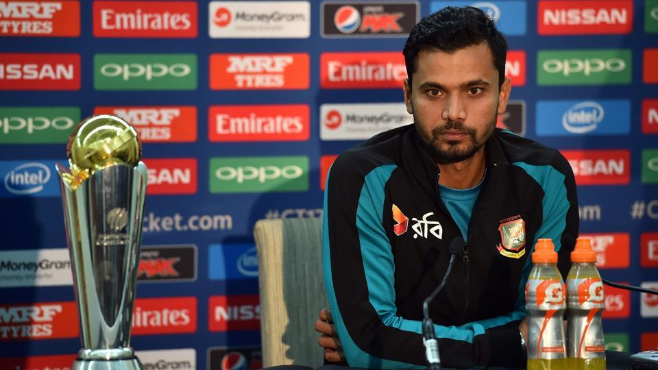 Bangladesh's captain Mashrafe Mortaza speaks during a press conference at The Oval in London on Wednesday, on the eve of their ICC Champions Trophy cricket match against England.
