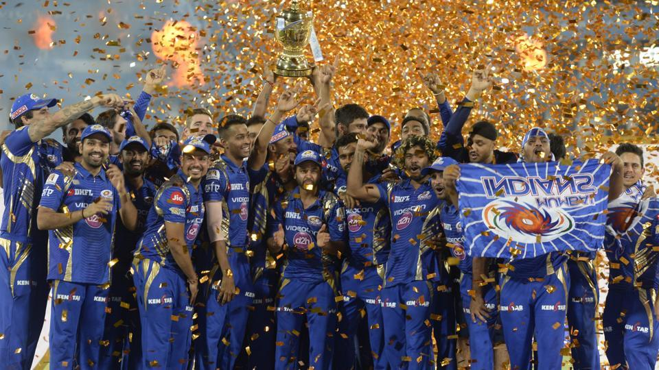 Mumbai Indians players celebrate after winning the Indian Premier League (IPL)2017 title beating Rising Pune Supergiant in the final in Hyderabad on May 21. Chinese mobile firm Vivo had bagged the title sponsorship right of the T20 League for a two-year period (2016 and 2017).