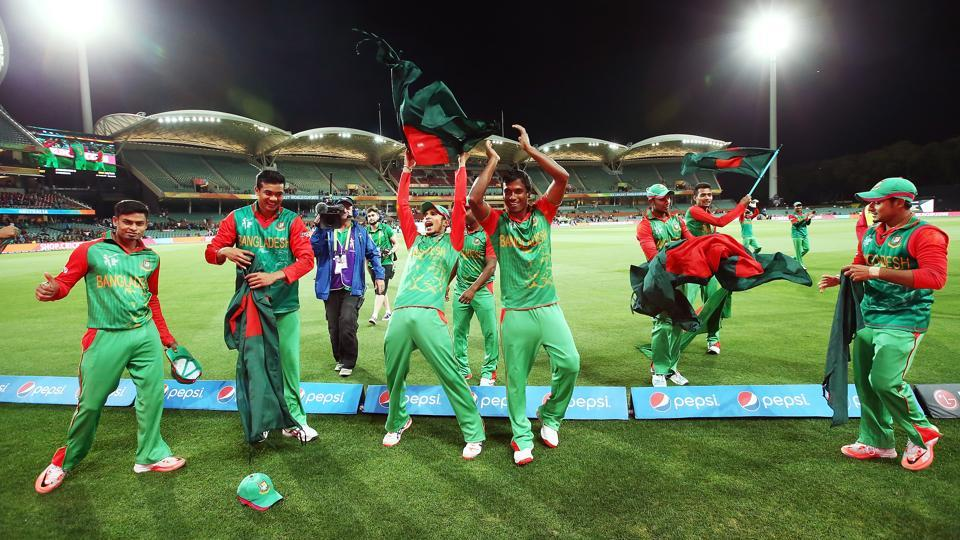 Bangladesh players celebrate after winning the 2015 ICC Cricket World Cup match against England at Adelaide Oval on March 9, 2015.