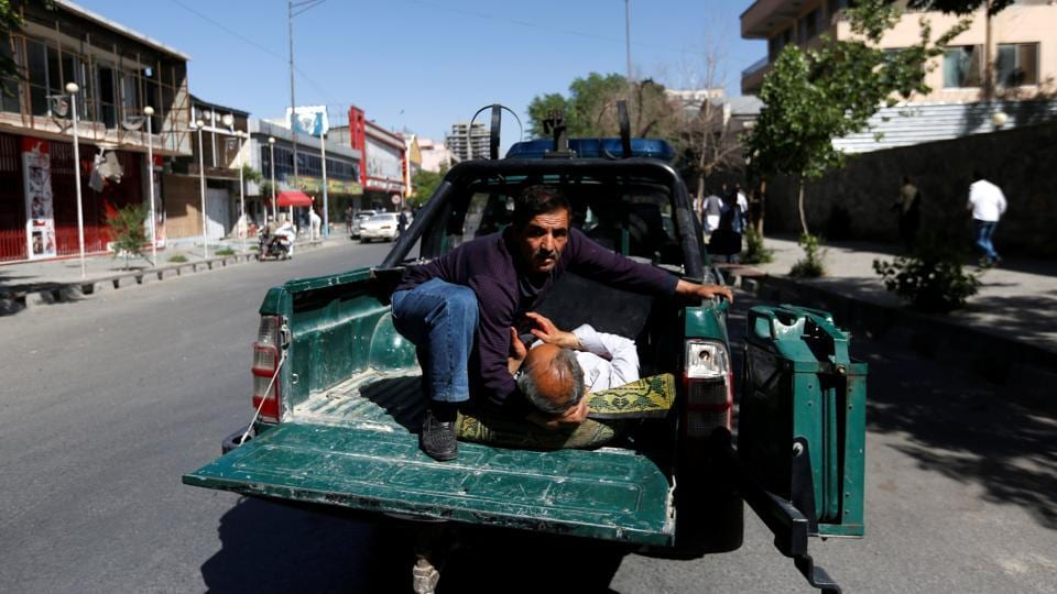 A health ministry spokesperson said more than 60 wounded people, mainly civilians, had been rushed to Kabul hospitals, adding: 'We don't know the number of killed yet.' (Mohammad Ismail / REUTERS)