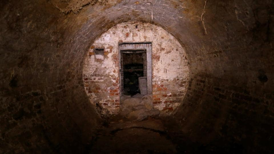 Entry into the underground shelters at a former Soviet military hospital.  (Laszlo Balogh/REUTERS)