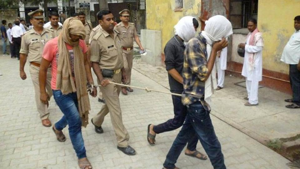 Three suspects in the Rampur molestation case being taken to the district court on Monday.