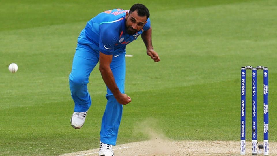 Mohammed Shami of Indian cricket team in action during the ICC Champions Trophy 2017 warm-up match against Bangladesh cricket team at The Oval in London on Tuesday.