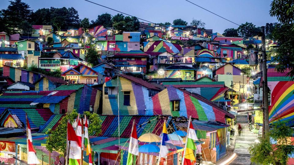 The Indonesian hamlet of Semarang in central Java was given a makeover by locals.