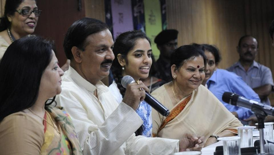 Union culture minister Mahesh Sharma at the felicitation ceremony of All India CBSE topper Raksha Gopal in Noida on Wednesday.