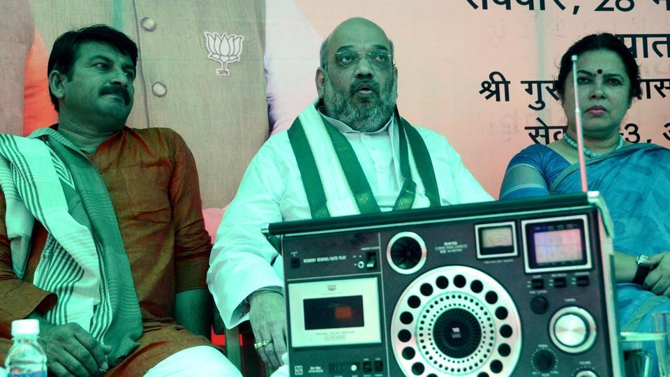 BJP president Amit Shah with Delhi BJP chief Manoj Tiwari at a party event in Delhi. To mark three years of Modi government at the Centre, the Delhi unit of the party is planning to organise a two-week-long Modi Fest.