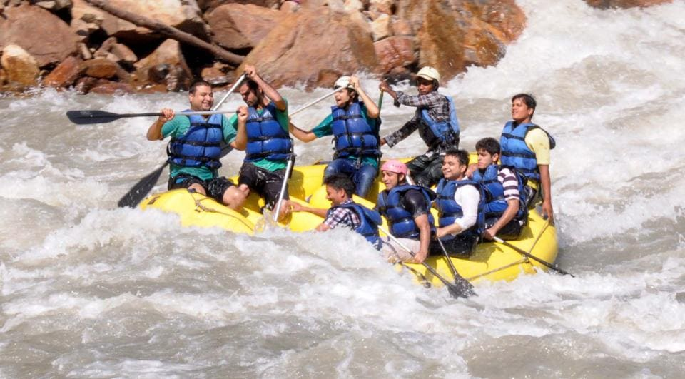 White water river rafting and camping activities on the Ganga River between Kaudiyala and Rishikesh are popular with tourists.