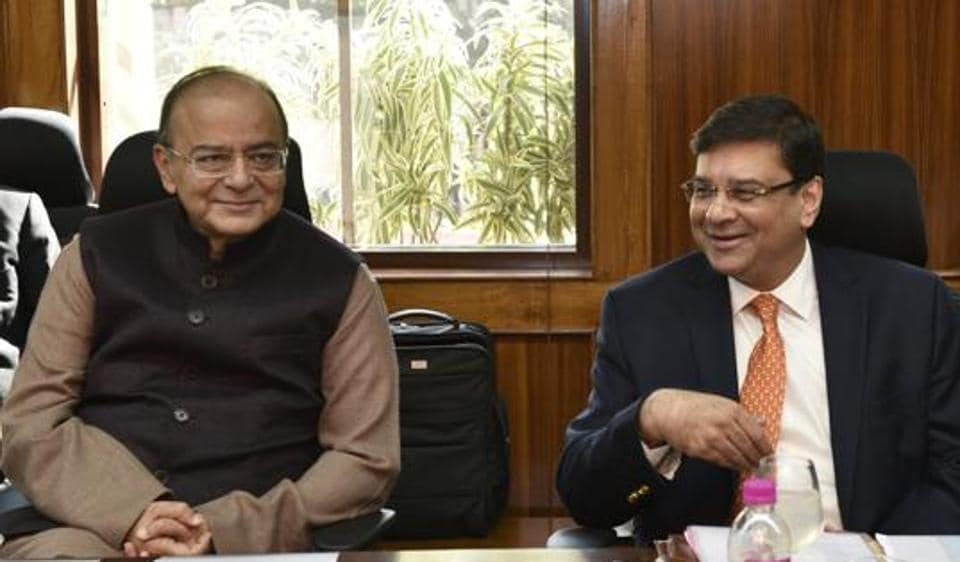 Finance Minister Arun Jaitley (L) and Reserve Bank Governor Urjit Patel at the RBI Board Meeting in New Delhi.