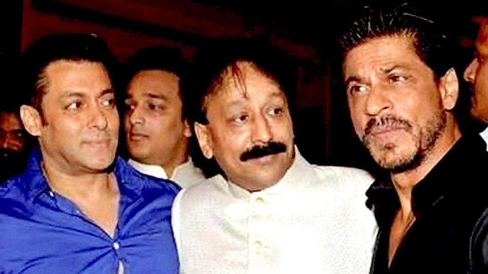 Baba Siddique (centre) with Bollywood actors Shah Rukh Khan (right) and Salman Khan (left).