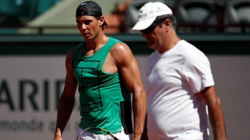 Spanish tennis player Rafael Nadal with his uncle and coach Toni Nadal during a training session at French Open 2017.