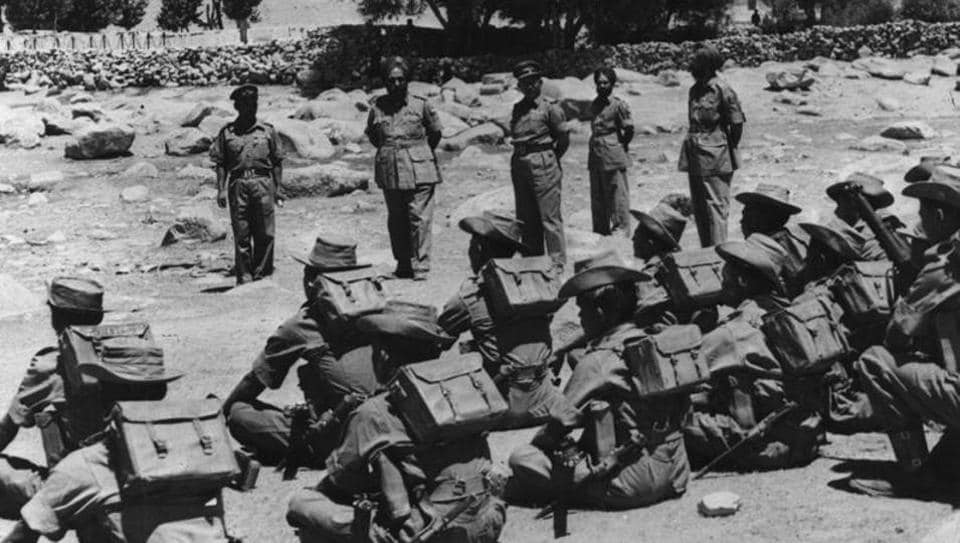 Indian troops being inspected during the India-China war in November 1962.