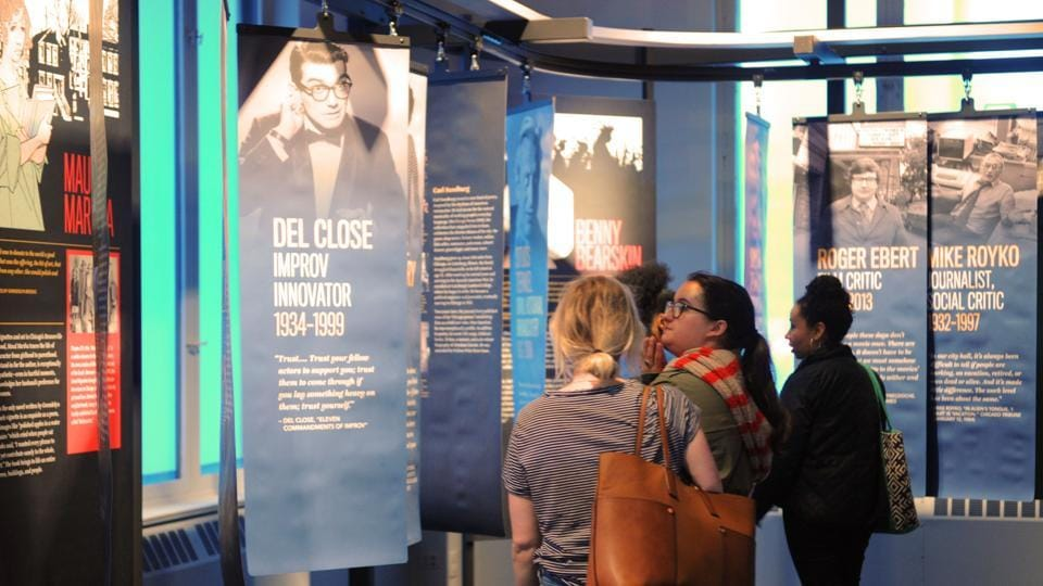 Visitors examine an exhibit of Chicago writers at the American Writers Museum in Chicago.