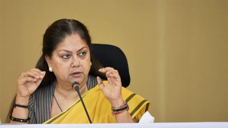 Chief minister Vasundhara Raje addresses a press conference in Jaipur on Wednesday.