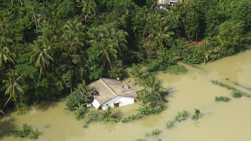 A flooded house is seen in a village in Matara, Sri Lanka.