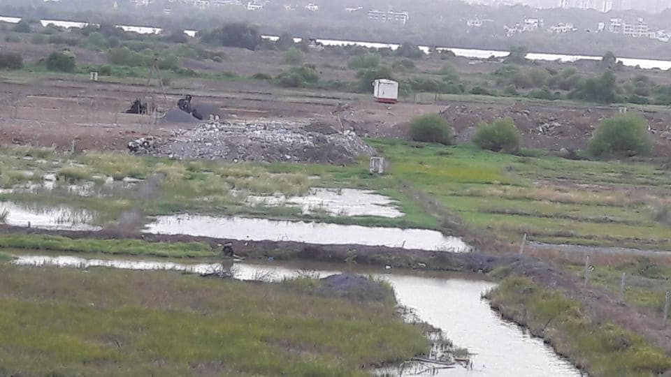 A photo the fishermen submitted with their complaint to show destruction of the wetland patch in Bhiwandi.