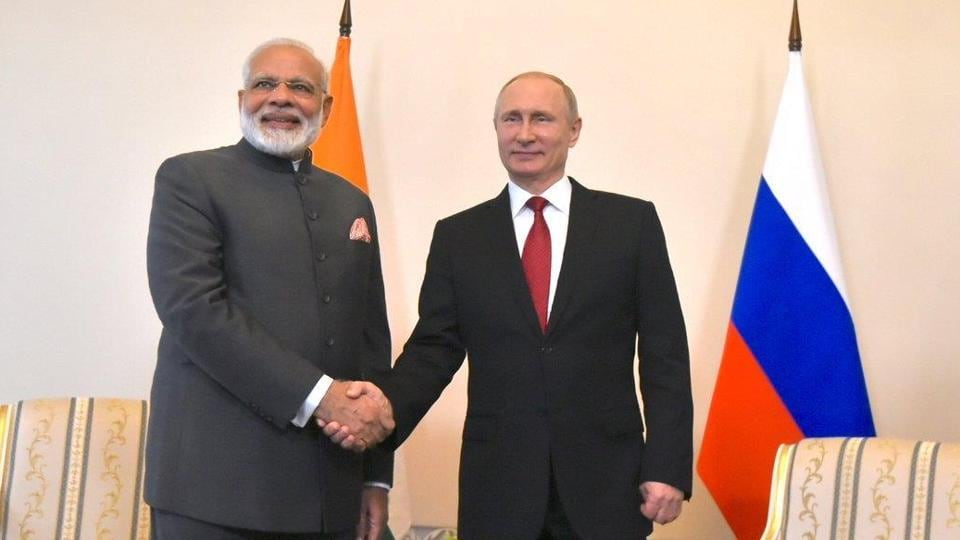 Russian President Vladimir Putin meets with Prime Minister Narendra Modi on the sidelines of the St. Petersburg International Economic Forum (SPIEF), Russia on June 1.