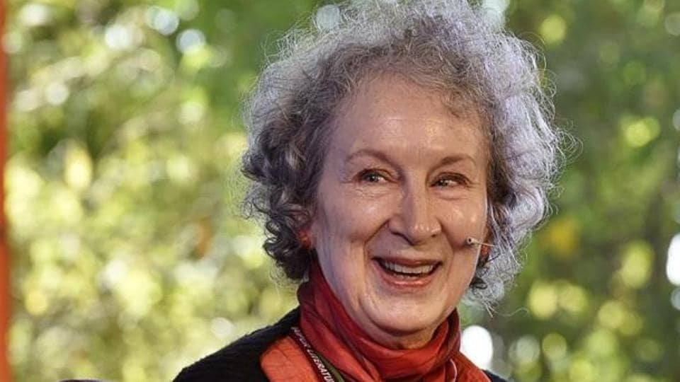Margaret Atwood during the session The Heart Goes Last at the Jaipur Literature festival 2016, in Jaipur, India.
