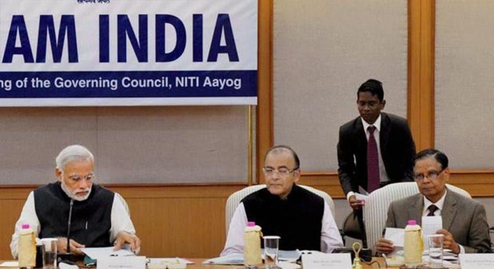 Prime Minister Narendra Modi chairing a meeting of Niti Aayog.