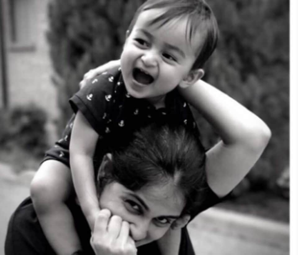 "Genelia posted this picture on Twitter with the caption, ""My little boy turns One""."