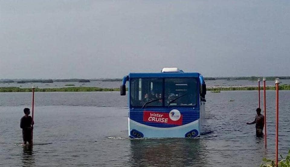 The amphibious bus ferrying tourists at Harike lake in Tarn Taran on Wednesday.