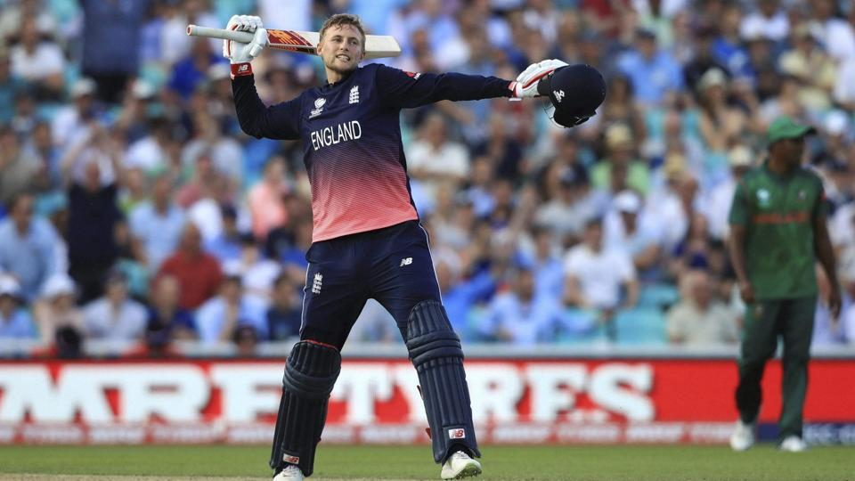 England's Joe Root celebrates his side beating Bangladesh by eight wickets to win the ICC Champions Trophy opener at The Oval in London on Thursday.