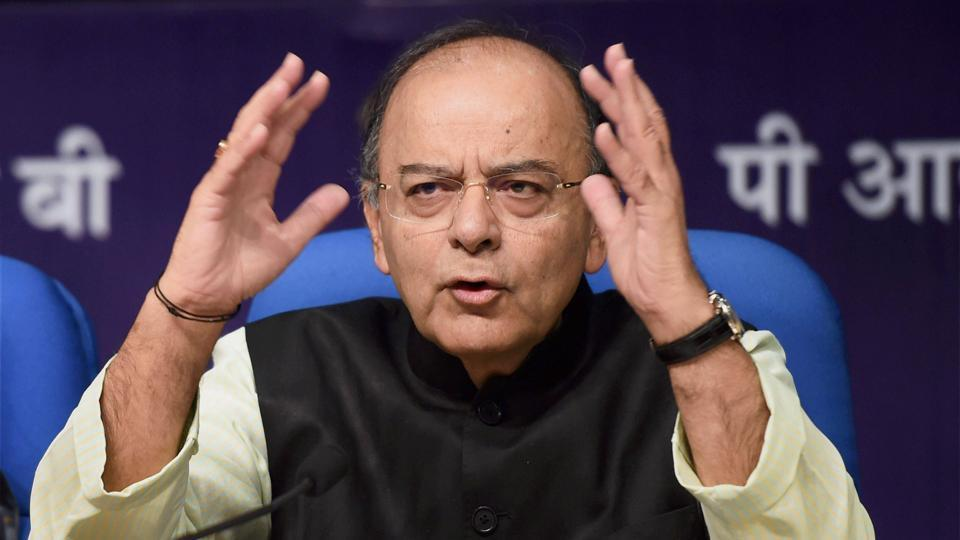 Union minister Arun Jaitley addresses a press conference in New Delhi on Thursday.