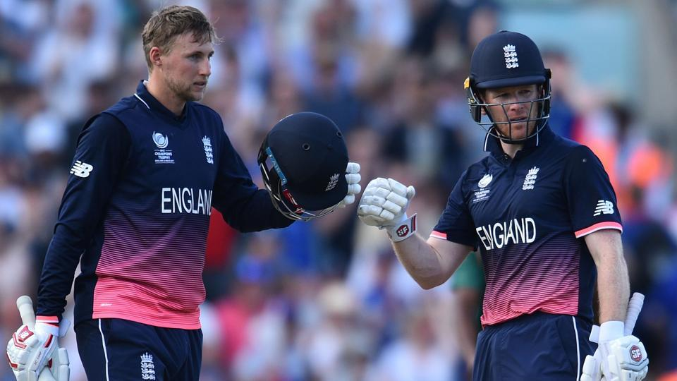England's Joe Root and Eoin Morgan (R) celebrate after their team's win over Bangladesh in an ICC Champions Trophy 2017 match. Get highlights of England vs Bangladesh here.