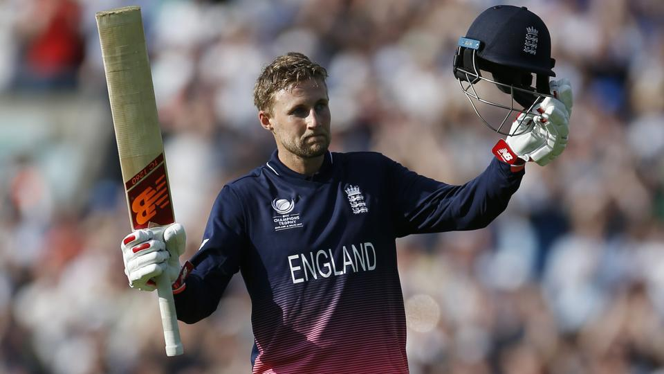 England's Joe Root celebrates his century vs Bangladesh in the ICC Champions Trophy 2017 opener.