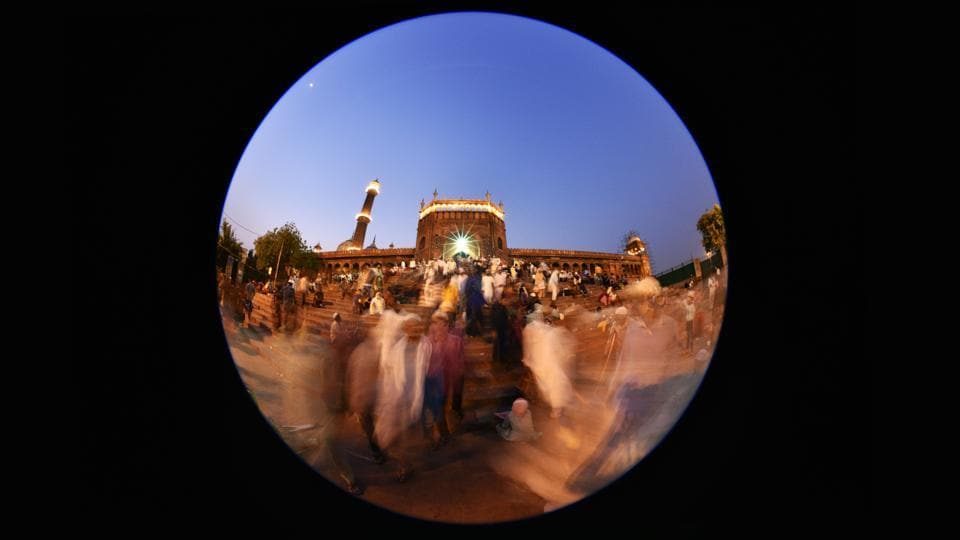 Ramzan is a month of prayers, of feasting and charity, a time to contemplate and seek communion with God. The holy month of Ramzan in India began on 29th May based on the visual sighting of the moon. Photographer Arun Sharma spent time circling around the Jama Masjid in Delhi with his fish-eye lens, looking at Ramzan from a different perspective. In Islam, the circle is said to represent the unity of the monotheistic God as well as the city of Mecca. It suggests infinity, a world of eternal peace and harmony.  (Arun Sharma/HT PHOTO)