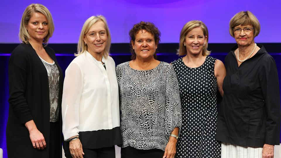 (L-R) Kim Clijsters, Martina Navratilova, Evonne Goolagong-Cawley, Chris Evert and Margaret Court pose at the Legends Lunch during at Melbourne Park on January 30, 2016 in Melbourne.