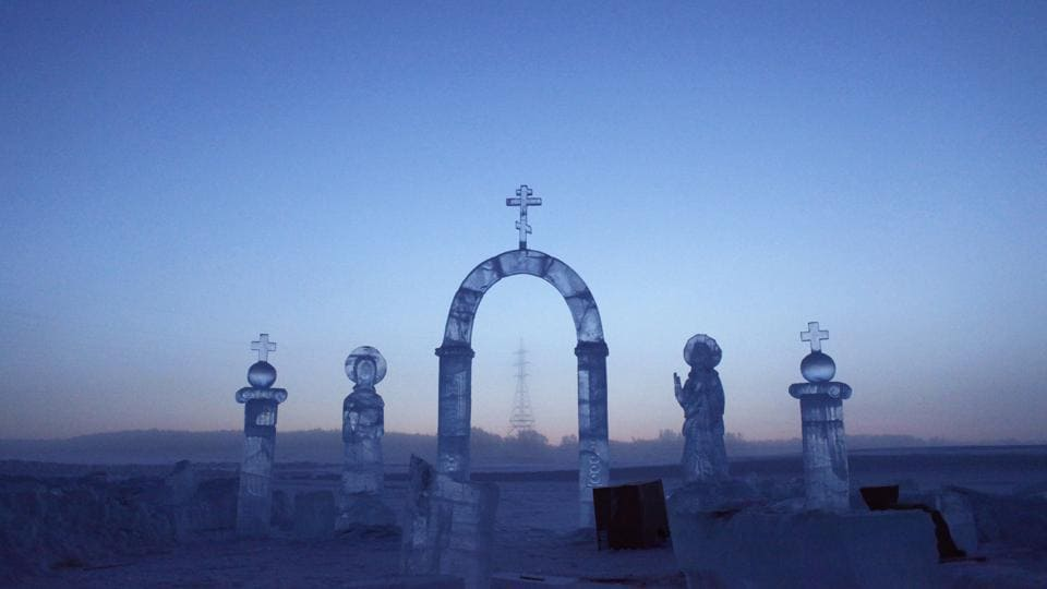 A view shows ice sculptures on the Lena river, constructed for the celebration of Orthodox Epiphany outside Yakutsk in the Republic of Sakha, northeast Russia. (Maxim Shemetov  / REUTERS)