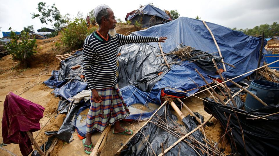 Seen above, a Rohingya refugee shows his house destroyed by Cyclone Mora at a makeshift camp in Bangladesh.The border area that bore the brunt of the storm is home to refugee camps for Muslim Rohingyas who have fled from their homes in  Myanmar to escape communal violence.  (Mohammad Ponir Hossain/REUTERS)