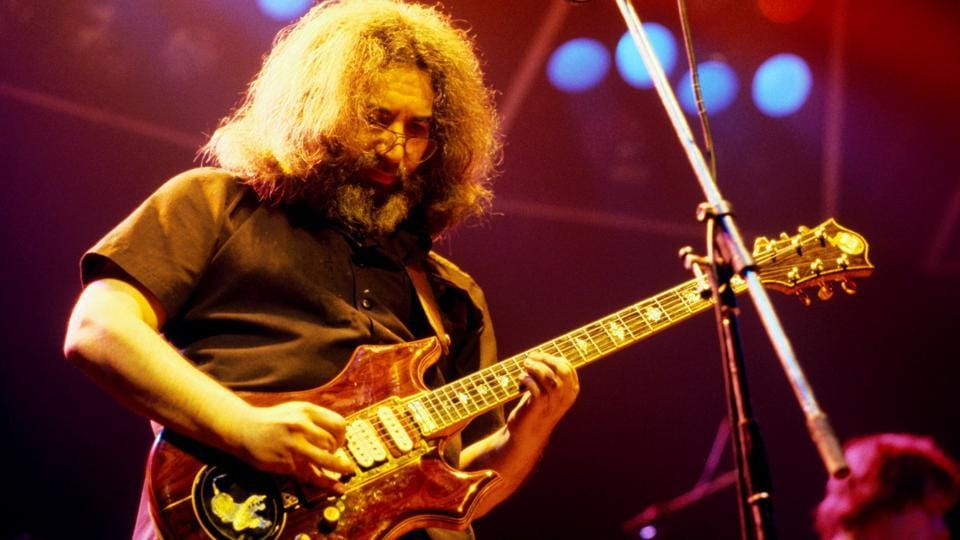 Guitar legend Jerry Garcia of The Grateful Dead performs at the Wembley Empire Pool, London, in 1972.