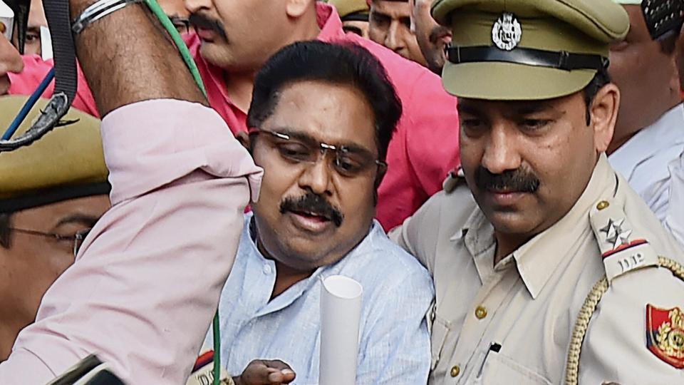 AIADMK leader TTV Dhinakaran after being produced in Tis Hazari court in New Delhi on Wednesday.