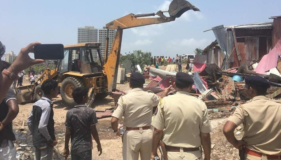 The demolition drive in Charkop.