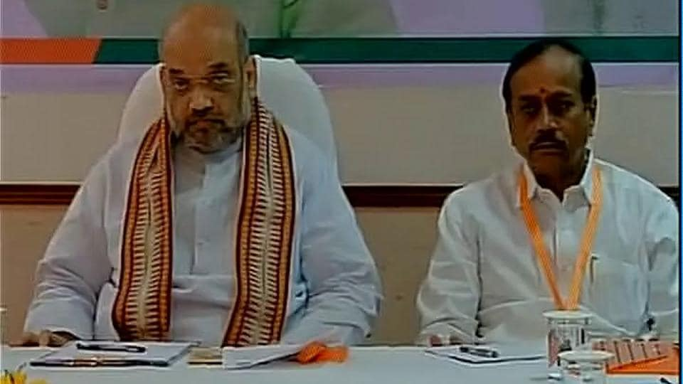 Amit Shah attends BJP state core committee meeting in  Kerala's Kochi.