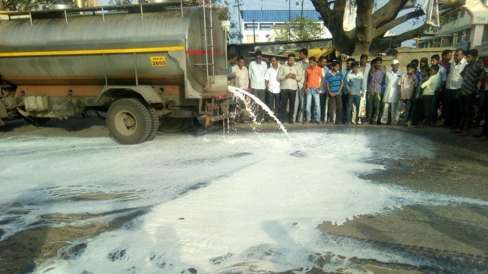 Two tankers of milk heading towards Mumbai were damaged as farmers from several districts in Maharashtra started their strike on Thursday.