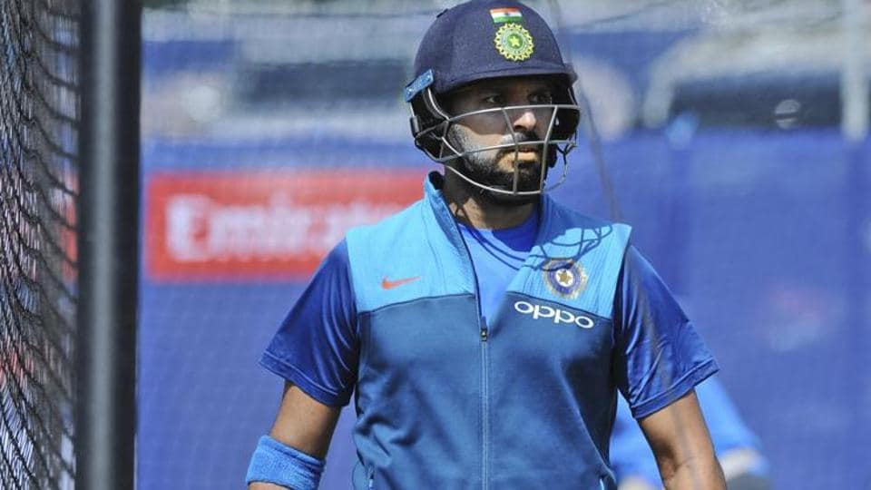 Yuvraj Singh bats during the practice session. (AP)