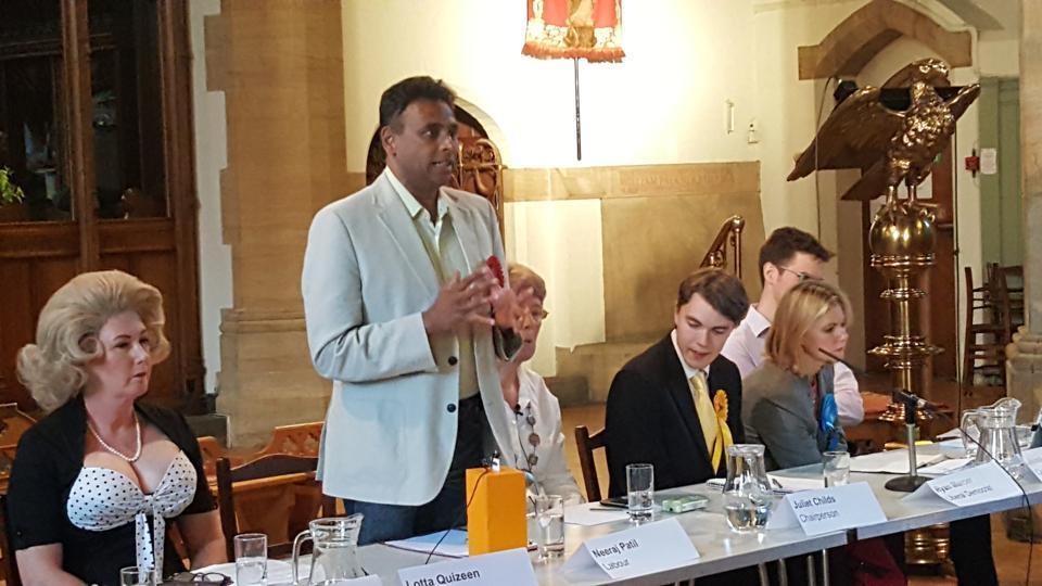 Neeraj Patil, the Labour Party candidate from Putney, addressing voters in London on Thursday night.