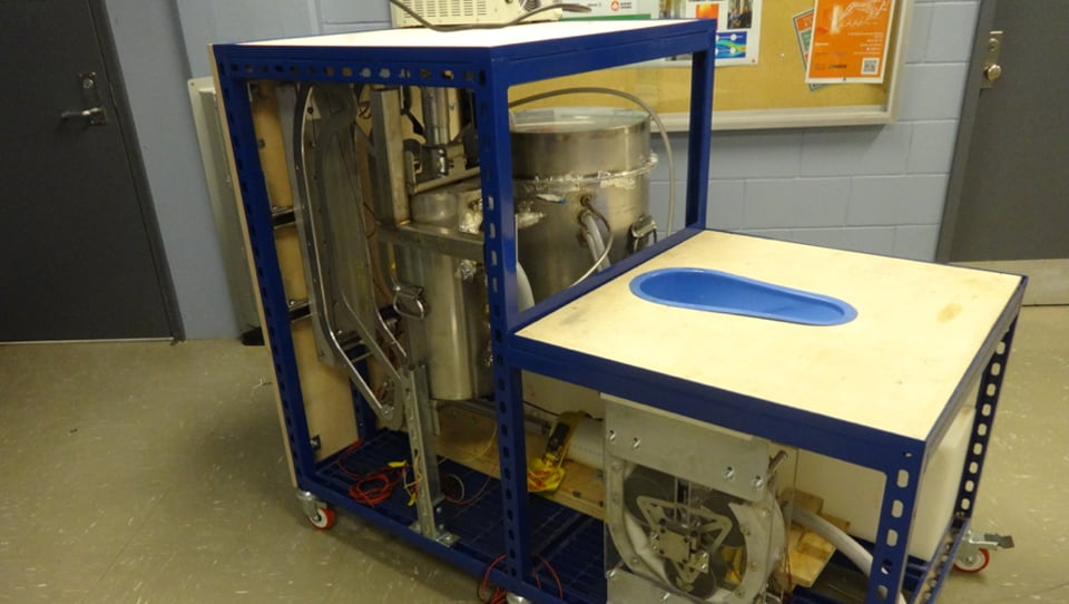 The prototype of a sustainable toilet developed at University of Toronto's Centre for Global Engineering for use in countries such as India.