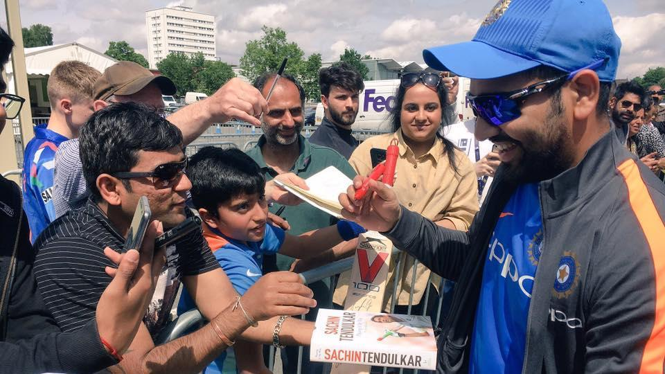 Rohit Sharma interacts with fans ahead of their practice session. (Twitter)