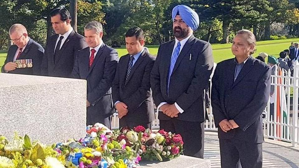 The ceremony at Kings Park, Perth, on Thursday to commemorate the centenary of Private Nain Singh Sailani's death during World War I.