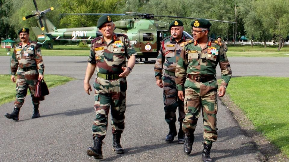Army chief General Bipin Rawat and other top army officials have reached Kashmir for a security review.