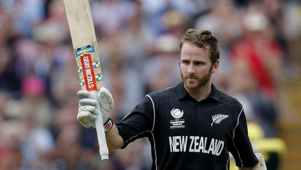 New Zealand's Kane Williamson celebrates after reaching his century against Australia in their ICC Champions Trophy 2017 match at Edgbaston on Friday.