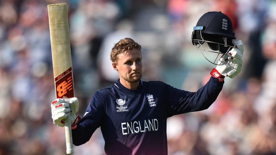 England's Joe Root celebrates reaching his century during the ICC Champions trophy match against Bangladesh.