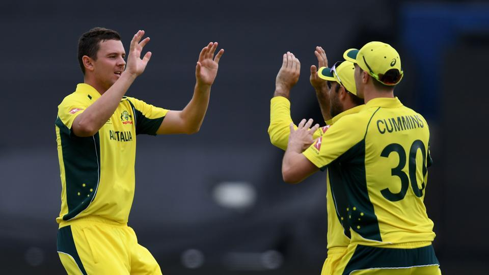 Australia's Josh Hazlewood (L) picked up six wickets against New Zealand in the ICC Champions Trophy Group A game at Edgbaston in Birmingham on Friday. Catch full cricket score of Australia vs New Zealand here.