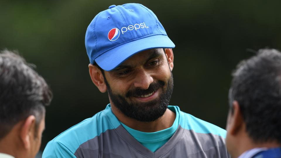 Pakistan's Mohammad Hafeez attends a nets practice session at Edgbaston cricket ground in Birmingham. (AFP)