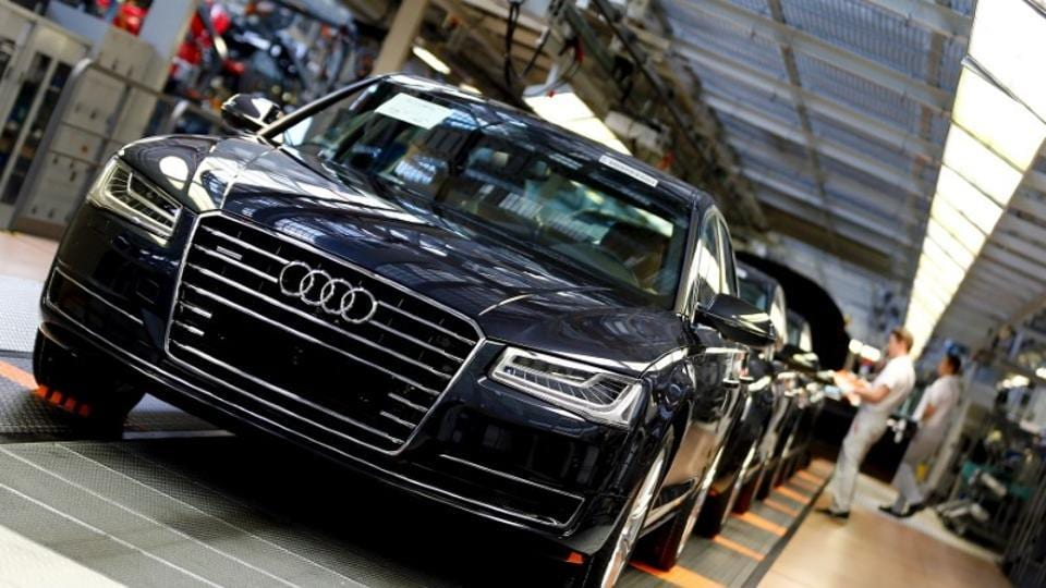 Audi A8 models are seen at their plant in Neckarsulm near Heilbronn. Some A8 models were detected to have the emissions cheat software, according to a report in German daily Bild.