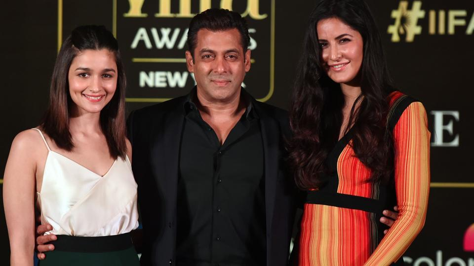 Bollywood actors Salman Khan (C), Katrina Kaif (R) and Alia Bhatt (L) pose during a press conference.