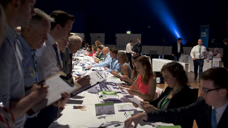 In this photo, officials can be seen counting votes for the Fine Gael Leadership election 2017, at the National Count Centre, Maison House in central Dublin on June 2.